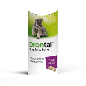 Drontal Plus Bone Tablets for Dogs and Puppies (3kg+) - 1 Tablet