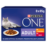 Purina ONE Adult Mini Fillets in Gravy Chicken & Beef Cat Pouches - 8 x 85g