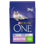 Purina ONE Sensitive Turkey and Rice Dry Cat Food - 3kg